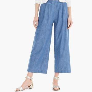 JCREW wide leg chopped chambray pants